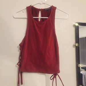 Express Suede Burnt Red Crop Top Size Small